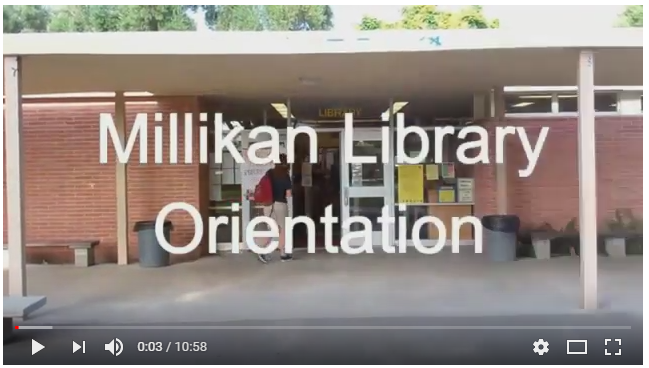 Screenshot of a video player, playing a video about the library.